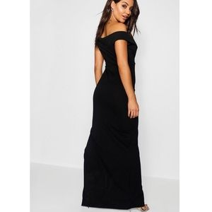 c414eb1620 Boohoo Dresses - Wrap Top Bardot Maxi Dress